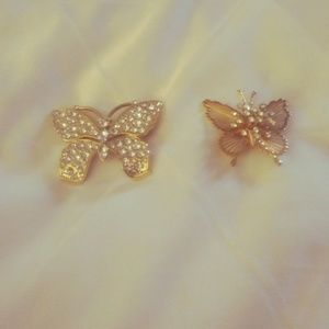 Monet Gold Tone Butterfly Pins/Brooches